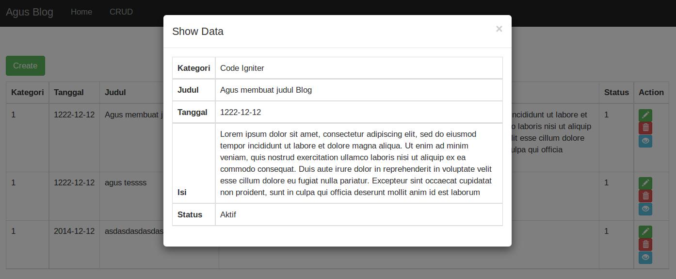 Membuat modal bootstrap di framework Laravel