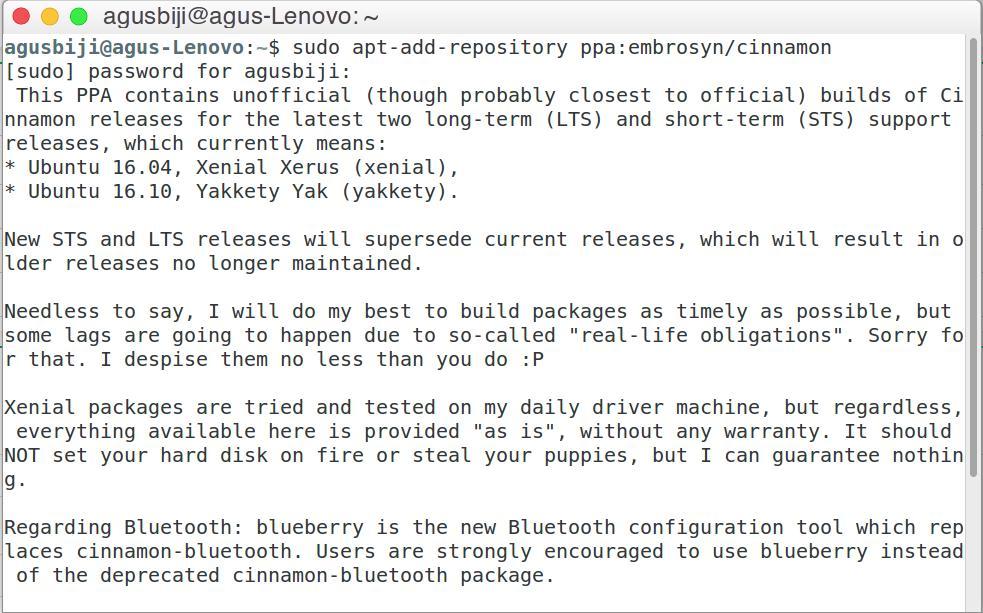 Install Desktop Environment Cinnamon di Ubuntu