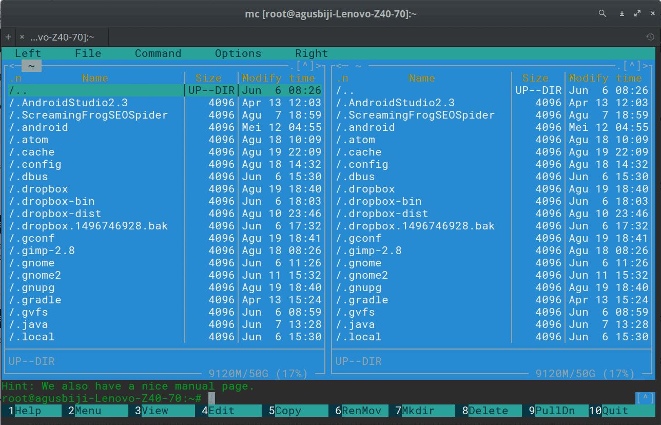 Mengenal Midnight Commander File Manager