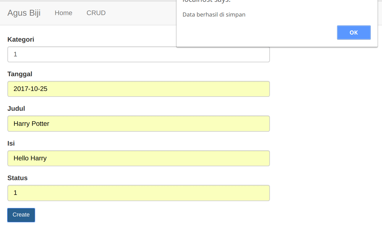 Form Create data Blog dengan Native PHP